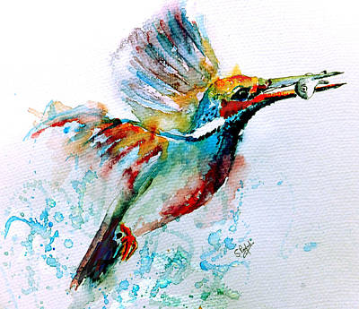 Leaves Painting - Kingfisher by Steven Ponsford