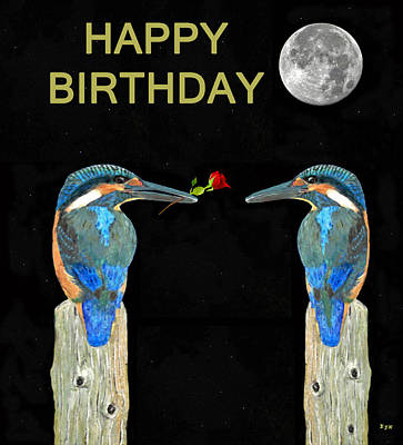 Kingfisher Mixed Media - Kingfishers Happy Birthday by Eric Kempson