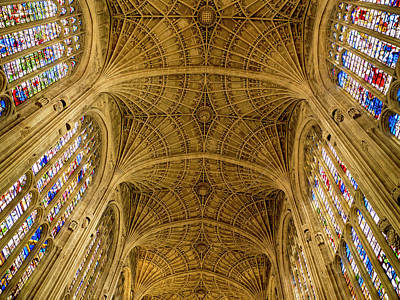 Photograph - Kings College Vaulted Ceiling by Jean Noren