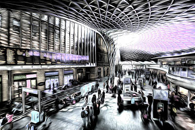 Kings Cross Rail Station London Futuristic Art Art Print by David Pyatt