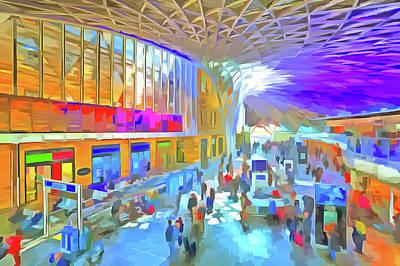 Mixed Media - Kings Cross Rail Station London Pop Art by David Pyatt