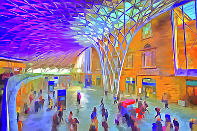 Mixed Media - Kings Cross Rail Station Pop Art by David Pyatt