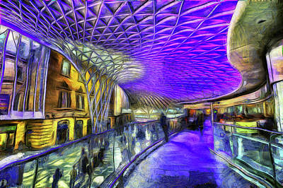 Mixed Media - Kings Cross Rail Station Van Gogh by David Pyatt
