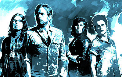Kings Of Leon Painting - Kings Of Leon Blue  by Enki Art