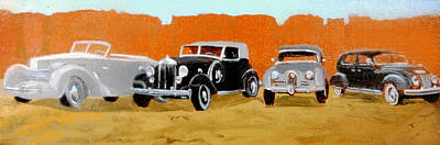 Cars From The 30s Painting - Kings Of The Road by David Zimmerman