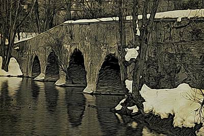 Millstone River Photograph - Kingston Bridge Woodprint by Steven Richman