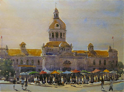 Painting - Kingston-city Hall Market Morning by David Gilmore