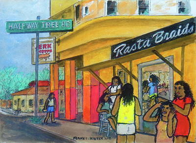 Painting - Kingston Jamaica Rasta Braid Shoppe by Frank Hunter