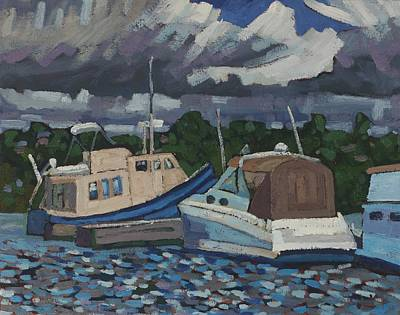 Painting - Kingston Marina Slips by Phil Chadwick