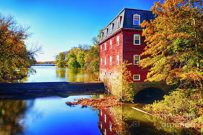 Kingston Mill Fall Scenic Print by George Oze