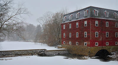 Print featuring the photograph Kingston Mill In Winter Storm by Steven Richman