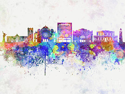 Kingston Skyline In Watercolor Background Art Print by Pablo Romero