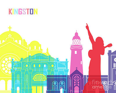 Kingston Skyline Pop Art Print by Pablo Romero