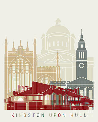 Kingston Upon Hull Skyline Poster Art Print by Pablo Romero