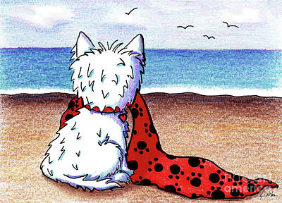 Kiniart Beach Blanket Westie Art Print by Kim Niles