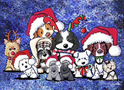 Havanese Drawing - Kiniart Christmas Party by Kim Niles