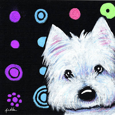Kiniart Painting - Kiniart Disco Westie by Kim Niles