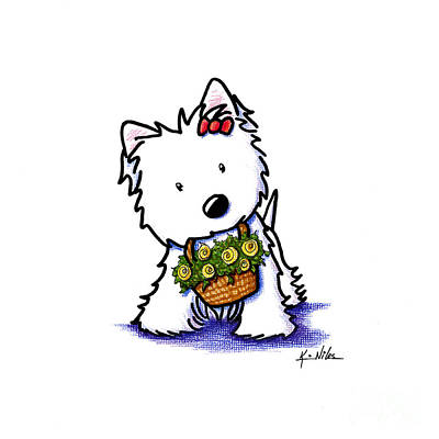 West Highland Terrier Drawing - Kiniart Flower Basket Westie by Kim Niles