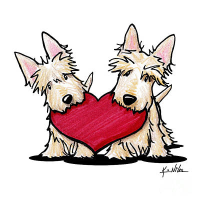 Scottish Dog Drawing - Kiniart Heartfelt Scotties by Kim Niles
