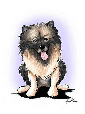 Drawing - Kiniart Keeshond by Kim Niles