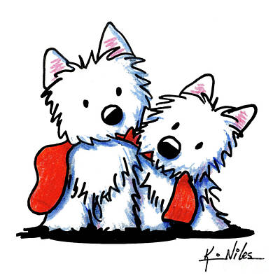 Drawing - Kiniart Red Sock Westies by Kim Niles