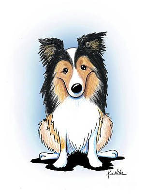 Sheepdog Drawing - Kiniart Sheltie by Kim Niles