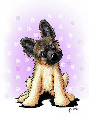 Drawing - Kiniart Shepherd Puppy by Kim Niles