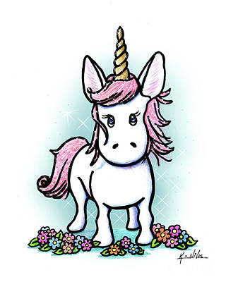 Drawing - Kiniart Unicorn Sparkle by Kim Niles