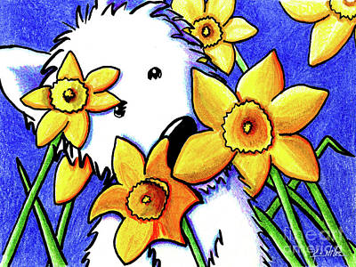 Kiniart Westie Daffodils Art Print by Kim Niles