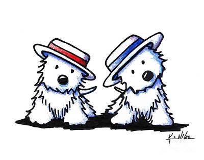 Kiniart Westie Dancing Duo Art Print by Kim Niles
