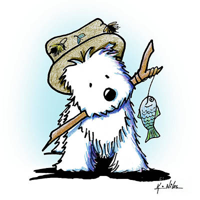 Drawing - Kiniart Westie Fisherman by Kim Niles