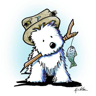 Drawing - Kiniart Westie Fisherman by Kim Niles