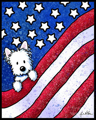 Painting - Kiniart Westie Patriot by Kim Niles