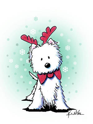 Drawing - Kiniart Westie Reindeer by Kim Niles