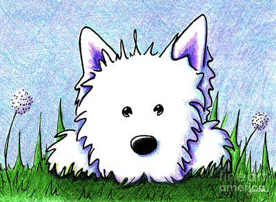 Drawing - Kiniart Westie Springtime by Kim Niles