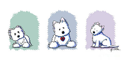 Westie Digital Art - Kiniart Westie Trio by Kim Niles