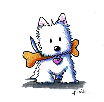 Westie Dog Drawing - Kiniart Westie With Bone by Kim Niles