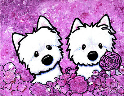 Kiniart Painting - Kiniart Westies In Flowers by Kim Niles