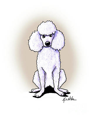 Drawing - Kiniart White Poodle by Kim Niles
