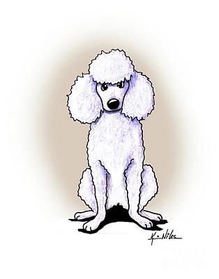 Kiniart White Poodle Art Print by Kim Niles