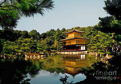 Kinkakuji-gold Pavilion Art Print by Linda  Parker