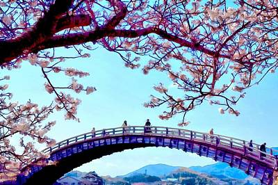 Cherry Blossoms Digital Art - Kintai Bridge by Jean-Marc Lacombe