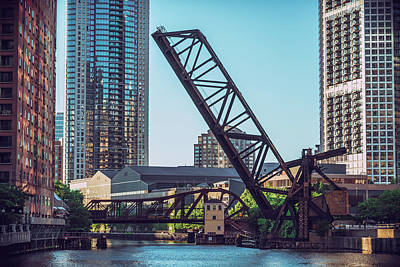 Photograph - Kinzie Bridge And Rail Bridge by Nisah Cheatham