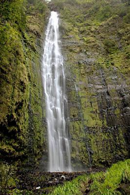 Kipahulu Falls With Foliage Print by Jenna Szerlag