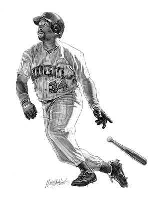 Pucketts Drawing - Kirby Puckett by Harry West