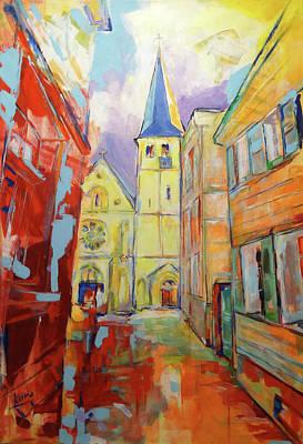 Painting - Kirche Und Altstadt Mettmann by Koro Arandia