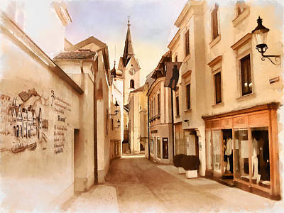 Painting - Kirchengasse In Ybbs Mit Loeb Geschaeft by Menega Sabidussi