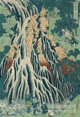 Waterfalls Drawing - Kirifuri Falls by Hokusai