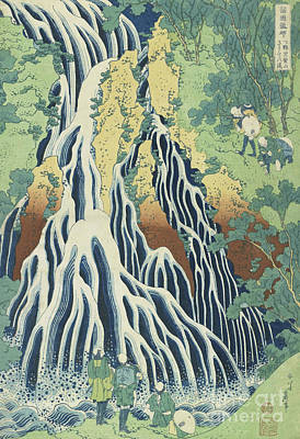 Waterfalls Drawing - Kirifuri Falls Near Mount Kurokami In Shimotsuke Province by Hokusai