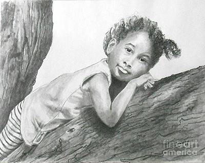 Drawing - Kirikou, Dreaming -- Portrait Of Little African-american Girl by Jayne Somogy
